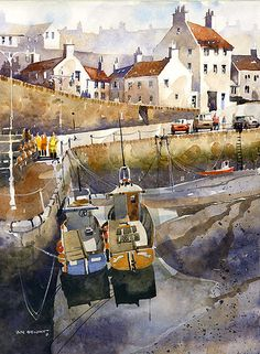 Crail Harbor at Low Tide-Scotland -- by Iain Stewart, Watercolor ~
