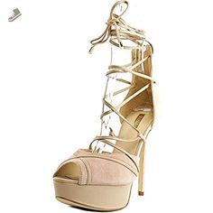 GUESS Womens Raja Peep Toe Ankle Wrap Leather D-orsay Pumps, Natural Suede, Size 9 - Guess pumps for women (*Amazon Partner-Link)