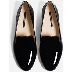 PATENT FINISH FLATS - View all-SHOES-WOMAN | ZARA United States (€24) ❤ liked on Polyvore featuring shoes, flats, patent flats, flat patent leather shoes, flat heel shoes, flat shoes and flat pumps