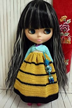 blythe outfit knitted doll Korean Dress HANBOK stripe deep yellow set nd032
