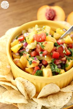 Homemade Peach Salsa Recipe l www.a-kitchen-addiction.com - Trying this with plantain chips!