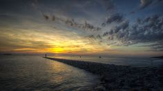 Tossens, peninsula Butjadingen. Jade estuary, German Bight (DE) Jade, Strand, Playground, Coastal, Germany, Boat, River, Sunset, Places