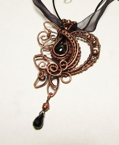 Wire-wrapped Copper Leaf Vine Gothic by PoltergeistJewellery