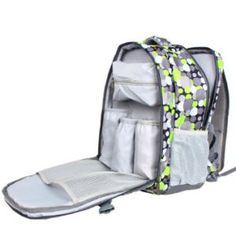 Damero Travel Backpack Diaper Bag with Changing Pad and Metal Loop for Stroller Hook (Green Dots)
