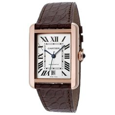 Cartier watches are the mechanics of passion, a fusion of cutting-edge technology and character. This women's watch from the Tank Solo collection features a brown leather strap and white automatic dial.