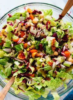 Truly the best Italian chopped salad recipe, with chopped fresh greens and veggies in a simple Italian vinaigrette. This salad is vegetarian (easily vegan).