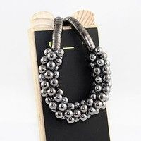Wish | Punk Style Girl's Fashion Jewelry Unique Multilayer Bubble Beads Choker Statement Necklace