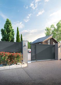 Home Gate Design, House Main Gates Design, Exterior Wall Design, Steel Gate Design, Front Gate Design, Fence Design, Door Design, Metal Garden Gates, Front Garden Landscape