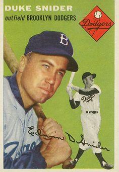 duke snider baseball cards   1954 Topps Duke Snider #32 Baseball Card Value Price Guide