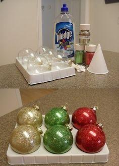 Make Glitter Ornaments http://thegreenbeanscrafterole.blogspot.com/2010/12/all-that-glittersminus-mess.html