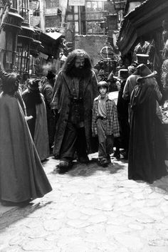 Harry Potter and the Philosopher's Stone. Harry and Hagrid Harry Potter Film, Mundo Harry Potter, Harry Potter Love, Harry Potter Universal, Harry Potter World, Harry Potter Fandom, Harry Potter Diagon Alley, Hermione Granger, Ron Y Hermione