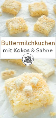 Dieser Buttermilch-Kokos-Kuchen vom Blech ist perfekt für die große Runde: Sch… This buttermilk coconut cake from the tin is perfect for the big round: fast, easy, delicious! Since the buttermilk cake is soaked in cream, it is particularly juicy Cake Recipes, Snack Recipes, Dessert Recipes, Snacks, Healthy Recipes, Rhubarb Cake, Easy Smoothie Recipes, Pumpkin Spice Cupcakes, Food Cakes