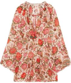 Anjuna - Viky Beaded Printed Cotton-voile Dress - Pink