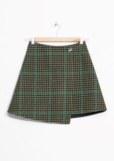 & Other Stories   Check Overlap Skirt
