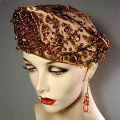 Vintage CHRISTIAN DIOR Bronze Satin Jeweled Hat from greatvintagestuff ...