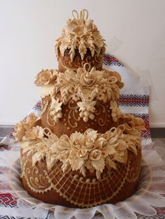 Korovay - A decorated wedding bread instead of cake. Neither Nick nor I are a big cake person so this might be a neat idea. Ukrainian Easter Bread Recipe, Ukrainian Recipes, Cupcakes, Cake Cookies, Cupcake Cakes, Bread Art, Cake Templates, British Baking, Cake Icing