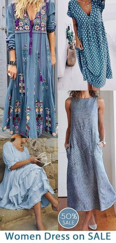 Womens robe maxi casual maintenant OFF. Casual Summer Dresses, Casual Outfits, Boho Fashion, Fashion Outfits, Fashion Women, Mode Style, Pretty Outfits, Cute Dresses, Clothes For Women