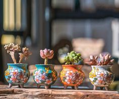 Set of 4 -Beautiful Flower Style,terracotta Planter,Ceramic Planter,Succulent Planter, Succulent Pot Succulent Pots, Planting Succulents, Succulent Display, Ceramic Planters, Planter Pots, Planter Ideas, Ceramic Decor, Ceramic Art, Cactus Y Suculentas