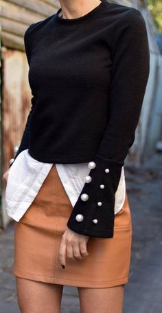 #fall #outfits women's black long-sleeve shirt with brown leather mini skirt #sweaterfall