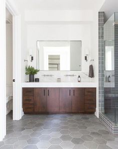 Bathroom decor for the master bathroom renovation. Discover bathroom organization, bathroom decor tips, master bathroom tile ideas, master bathroom paint colors, and more. Bathroom Design Inspiration, Bathroom Interior Design, Industrial Bathroom Design, Layout Inspiration, Furniture Inspiration, Bedroom Inspiration, Kitchen Inspiration, Kitchen Interior, Interior Inspiration