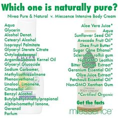 Pure & Natural - you be the judge. Nivea vs Miessence. Get the facts @ www.organicgoody.miessence.com