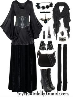 I share my secrets with the moon.Top / Corset Belt / Skirt / Rose Headband / Choker / Batwing Necklace / Scarf / Ring / Cuff / Gloves / Bag / Socks / Boots