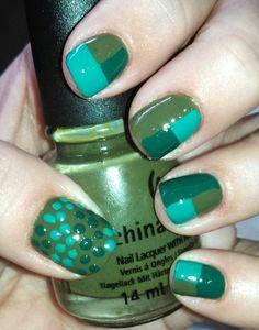 Block Tape Manicure - My attempt of Chalkboard Nails' block Mani using greens