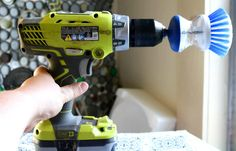 Hate to clean? Want to amp up your cleaning power? Make your own power cleaner with a standard scrubber and a cordless drill!