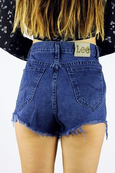 Vintage Cut Off Lee Shorts Deep Blue M-L