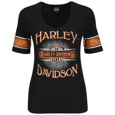 HF42-H49Y - Harley-Davidson® Womens Flame Havoc V-Neck Black Half Sleeve T-Shirt - Barnett Harley-Davidson®