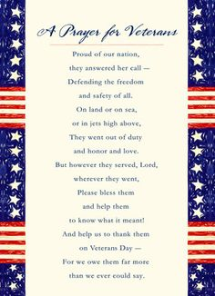Prayer for Veterans Folded Card Cardstore makes it easy to personalize and mail Veteran's Day cards like Prayer for Veterans card. Just add your own photos, text and a signature to a inspirational Veteran's Day cards and we'll mail it for you! Veterans Day Poem, Happy Veterans Day Quotes, Free Veterans Day, Veterans Day Images, Veterans Day 2019, Veterans Day Activities, Veterans Day Gifts, Military Veterans, Honor Veterans