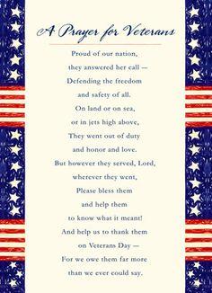 Prayer for Veterans 5x7 Folded Card
