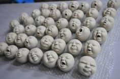 Wonderful clay baby heads with many expressions! From Pottery Farm Pottery Farm HK