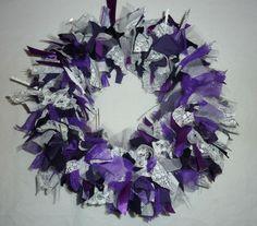 Alternative Christmas wreath to match decor! Purple, white and silver rag wreath.