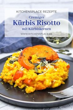Kürbis Risotto mit Kürbiskernen – kitchensplace – Nudeln und Reis Pumpkin Recipes, Soup Recipes, Vegetarian Recipes, Healthy Recipes, Recipes Dinner, Easy Recipes, Pumpkin Risotto, Pumpkin Soup, Vegan Pumpkin