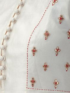 Ivory Round Neck Kalidar Chanderi Kurta with Buti and Slip (Set of 2)