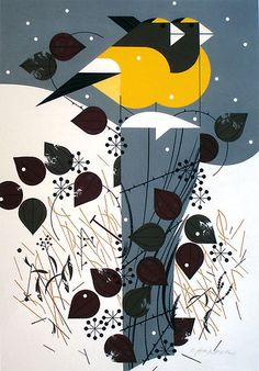 Illustration, Charley Harper, Evening Grosbeaks