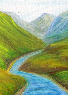 Atmospheric oil pastel perspective drawing landscape