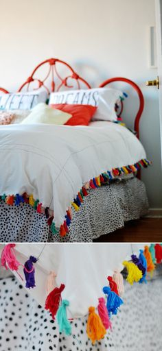 Spray painted iron bed plus Anthropologie inspired duvet cover like this colorful tassel trimmed one using two sheets and embroidery floss. This DIY duvet cover is inexpensive to make but packs a serious decorative punch!