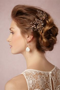 BHLDN Whimsical Hairpins Champagne pearls and topaz crystals bridal wedding hairpins weddingheadpiece Wedding Hair And Makeup, Hair Makeup, Bride Veil, Bhldn, Wedding Hair Accessories, Bride Hairstyles, Bridal Headpieces, Hair Pieces, Marie