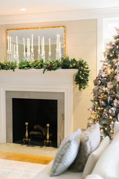Make your home sparkle with a vibrant mantel: http://www.stylemepretty.com/living/2016/11/30/from-neutrals-to-all-out-sparkle-make-your-home-truly-shine-this-holiday/ #sponsored