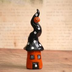 Polymer Clay Halloween Gnome Home Mini House Pumpkin Black Orange Collectible