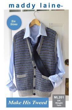 Classic tweed stitch vest. Dk Weight Yarn, Pattern Making, Tweed, Knitting Patterns, Vest, Stitch, Classic, How To Make, Fashion
