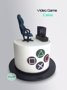 Torta Videojuegos - Videogames Cake by Giovanna Carrillo for men 18th Birthday Cake For Guys, Funny Birthday Cakes, Blue Birthday, Happy Birthday, Video Game Cakes, Cake Videos, Video Games, Bolo Xbox, Playstation Cake