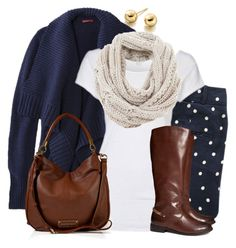 """""""Navy white polka dot"""" by wishlist123 ❤ liked on Polyvore featuring Astley Clarke, Sessùn, Marc by Marc Jacobs, H&M, Mint Velvet, women's clothing, women, female, woman and misses"""