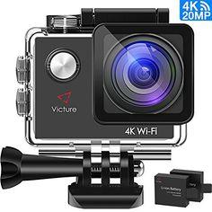 Victure 4K WiFi Caméra Sport 20MP Ultra HD, Caméra d'Action Étanche 30M, Caméscope Plongée Sous-Marine avec Grand Angle 170°, Ecran LCD 2.0…