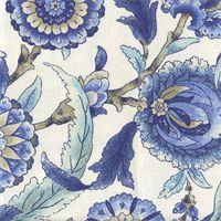 Grand Bazaar Aegean Blue Floral Drapery Fabric