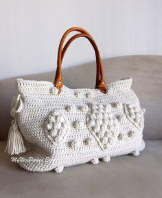 Crochet beige celebrity style handbag with genuine by MyNicePurses, $170.00
