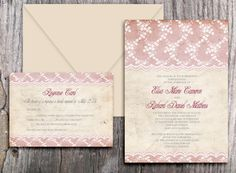 LACE WEDDING INVITATIONS Printable Vintage Diy set  by ABandIG, $22.00