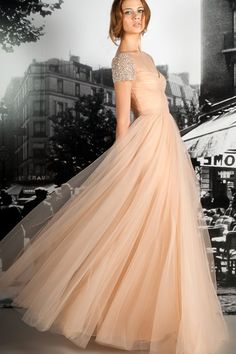 A-line Champagne Tulle Beaded Short Sleeves Bridesmaid Dress | omyweddinggown.com